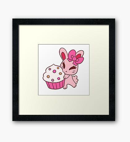 Girly Pink Cupcake Bunny Framed Print