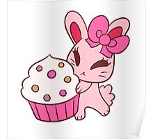 Girly Pink Cupcake Bunny Poster