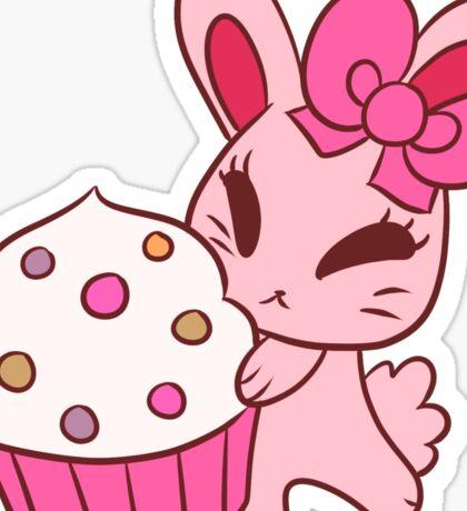 Girly Pink Cupcake Bunny Sticker