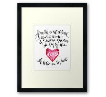A Mother is Not Defined by the number of children you can see, but by the love she holds in her heart. - Franchesca Cox Framed Print