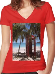 Antigua Red Phone Box Women's Fitted V-Neck T-Shirt