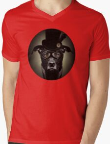 4.	Dapper Eduardian Pit Bull in Steampunk Gear Mens V-Neck T-Shirt