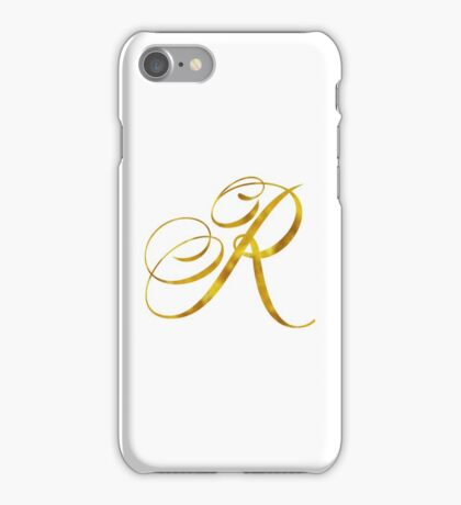 Letter R Initial Gold Faux Foil Metallic Glitter Monogram Isolated on White Background iPhone Case/Skin