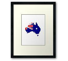 Australia Map And Flag Framed Print