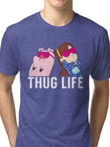 Thug Life Mabel and Waddles White Tri-blend T-Shirt