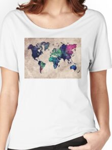 World map watercolor 1 Women's Relaxed Fit T-Shirt