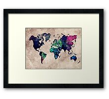 World map watercolor 1 Framed Print