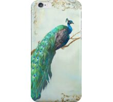 Elegant Peacock w Feathers on Branch iPhone Case/Skin