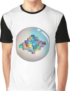 Colourful Cubes and Bubble Graphic T-Shirt