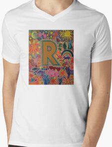 Initial R Mens V-Neck T-Shirt