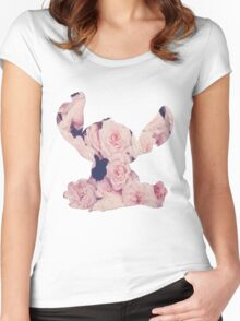Flowers Stitch  Women's Fitted Scoop T-Shirt