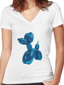 baloon dog Women's Fitted V-Neck T-Shirt