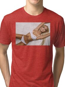 sexy nude erotic glamour blond girl model Tri-blend T-Shirt