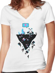 PandaC on Floating Pixel Island Women's Fitted V-Neck T-Shirt