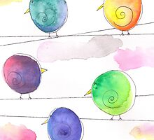 Watercolor Swirly Birds by Megan Stone