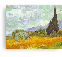 'Cornfield With Cypresses' by Vincent Van Gogh (Reproduction) Canvas Print