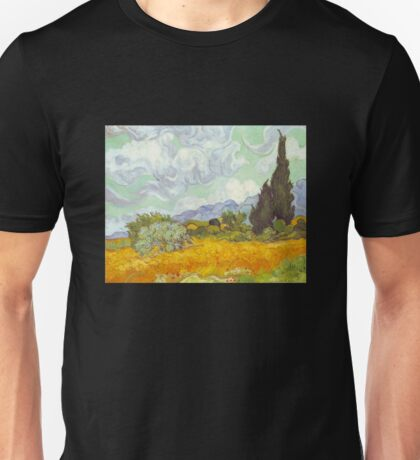 'Cornfield With Cypresses' by Vincent Van Gogh (Reproduction) Unisex T-Shirt