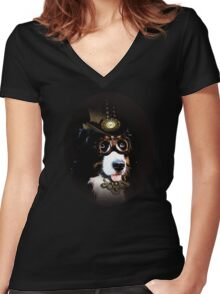 5.	Cheerful Steampunk Bernese Mountain Dog with Hat and Goggles Women's Fitted V-Neck T-Shirt