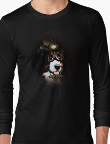 5.	Cheerful Steampunk Bernese Mountain Dog with Hat and Goggles Long Sleeve T-Shirt