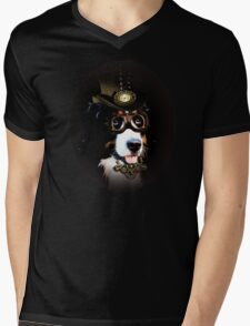 5.Cheerful Steampunk Bernese Mountain Dog with Hat and Goggles Mens V-Neck T-Shirt