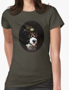 5.	Cheerful Steampunk Bernese Mountain Dog with Hat and Goggles Womens Fitted T-Shirt