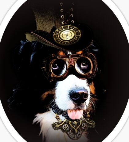 5.Cheerful Steampunk Bernese Mountain Dog with Hat and Goggles Sticker