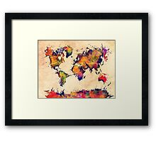 World map watercolor 3 Framed Print