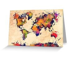 World map watercolor 3 Greeting Card