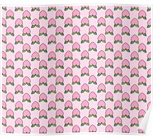 Heart Peach Pink Pattern Poster