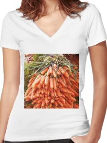 Carrots at the Market Women's Fitted V-Neck T-Shirt