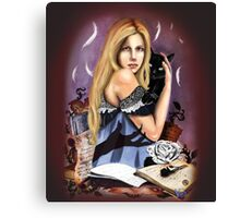 Spell girl Black Cat color Canvas Print