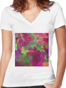 Fusion In Pink And Green Women's Fitted V-Neck T-Shirt