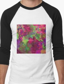 Fusion In Pink And Green Men's Baseball ¾ T-Shirt