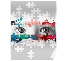 Eyes puzzle color Poster