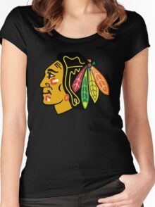 Top Selling Chicago Blackhawks Women's Fitted Scoop T-Shirt