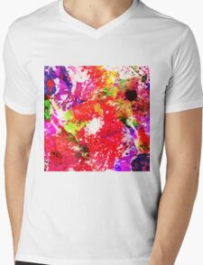 Expression Of Colour - Abstract In Rainbow Colours Mens V-Neck T-Shirt