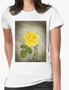 Single Yellow Rose with Thorns Womens Fitted T-Shirt