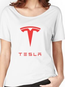 tesla logo tour 2016 Women's Relaxed Fit T-Shirt