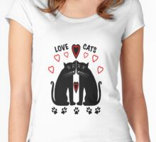 Love Cats ii . Women's Fitted Scoop T-Shirt