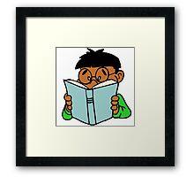 Black Asian Kid Reading Framed Print
