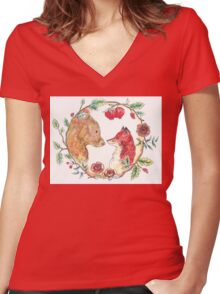The bear and the fox  Women's Fitted V-Neck T-Shirt