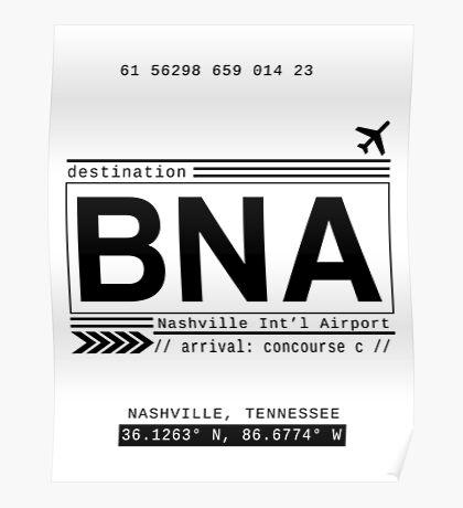 BNA Nashville International Airport Call Letters Poster