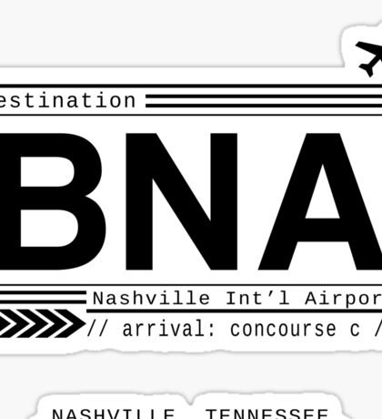 BNA Nashville International Airport Call Letters Sticker