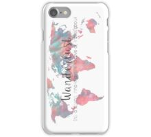 Wanderlust Definition Teal and Pink watercolor map iPhone Case/Skin