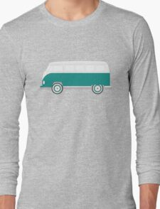 Turquoise Volkswagen Bus Long Sleeve T-Shirt