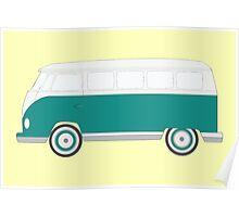 Turquoise Volkswagen Bus Poster