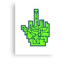 wichser middle finger stinkefinger fuck you off evil insult showing hand sign symbol mouse pointer arrow click elekronisch online Canvas Print