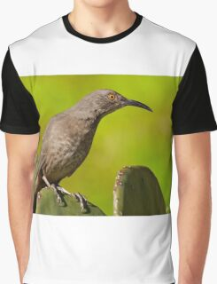 Curve-Billed Thrasher on a Prickly Pear Cactus Graphic T-Shirt