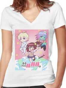 Space Patrol Luluco Women's Fitted V-Neck T-Shirt
