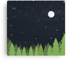 Cute Forest at Night Canvas Print